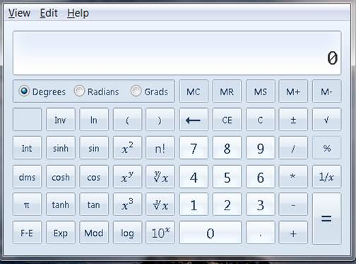 view of scientific calculator on computer