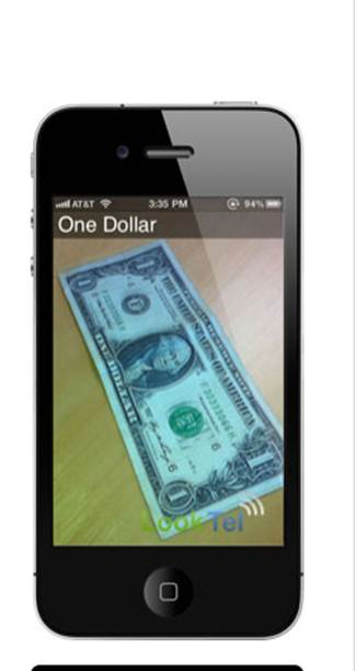 image of money reader on iphone