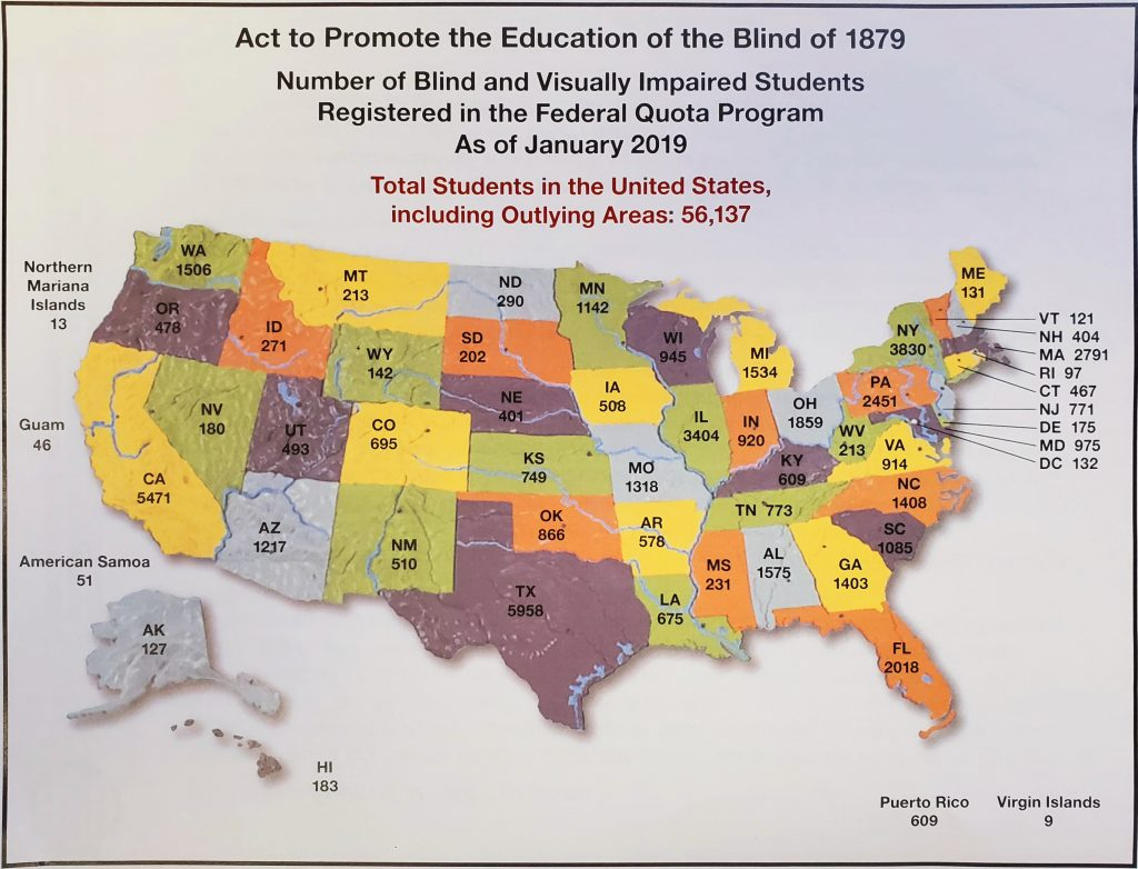 Map containing the number of registered students in each state