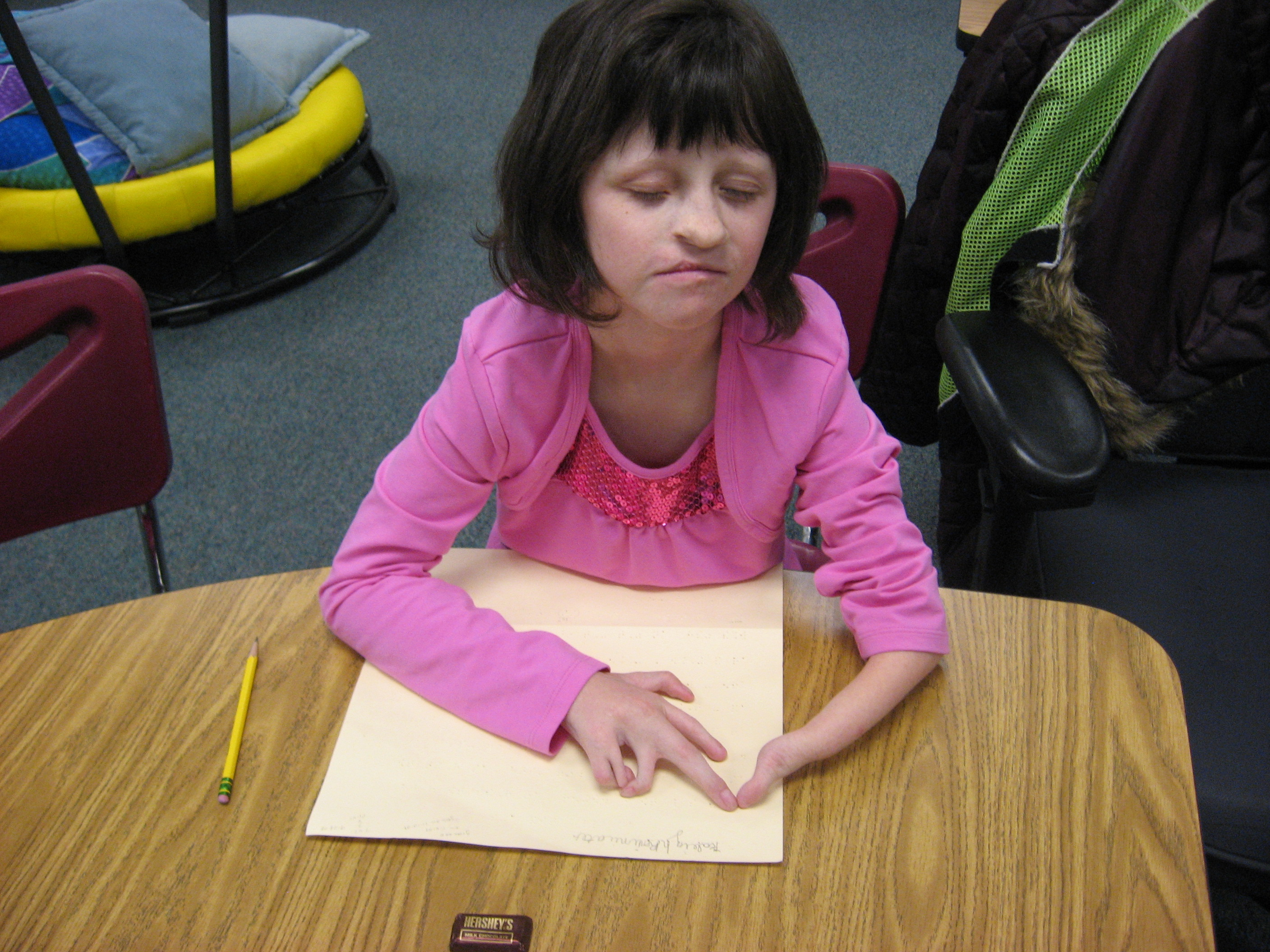 braille reading with special hands