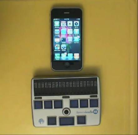 iphone and braille display