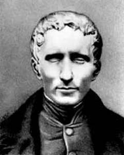 charcoal portrait of Louis Braille